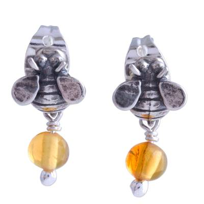 Sterling Silver Amber Honeybee Post Earrings Crafted Mexico