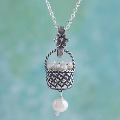 Cultured pearl pendant necklace, 'Fruit Basket' - Cultured Pearl Basket Pendant Necklace from Mexico