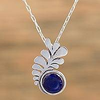 Sterling silver pendant necklace, 'Feather from the Sky' - Mexican Blue Enamel Sterling Silver Pendant Necklace
