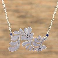 Sterling silver pendant necklace, 'Serpent Plume' - Mexican Dyed Lapis Lazuli Sterling Silver Pendant Necklace