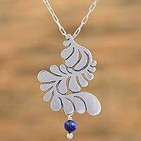 Sterling silver pendant necklace, 'Dancing Feather' - Dyed Blue Lapis Lazuli Sterling Silver Necklace from Mexico