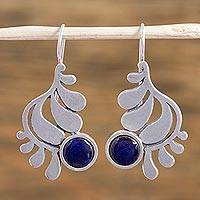 Sterling silver drop earrings, 'Feather in the Clouds' - Enameled Bronze and Sterling Silver Earrings from Mexico