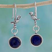 Sterling silver and enameled bronze dangle earrings, 'Birds at the Pond' - Sterling Silver and Enamel Bird Earrings from Mexico