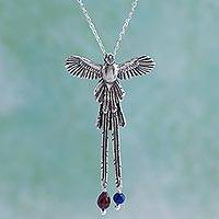 Sterling silver pendant necklace, 'Quetzal in Flight' - Sterling Silver and Bead Bird Pendant Necklace from Mexico