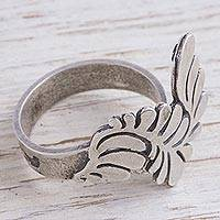 Sterling silver cocktail ring, 'Mystical Feather' - Sterling Silver Feather Cocktail Ring Made in Mexico