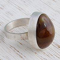 Fire agate cocktail ring, 'Fiery Drop' - Fire Agate and Sterling Silver Ring from Mexico