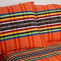 Cotton bedspread and pillowcases, 'Tangerine Stripes' (twin) - Twin Bedspread and Pillowcases in Tangerine from Mexico