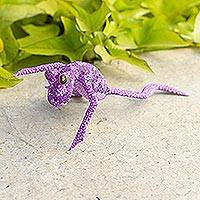 Wood alebrije sculpture, 'Ballerina Frog' - Hand-Painted Purple Frog Wood Alebrije Sculpture from Mexico