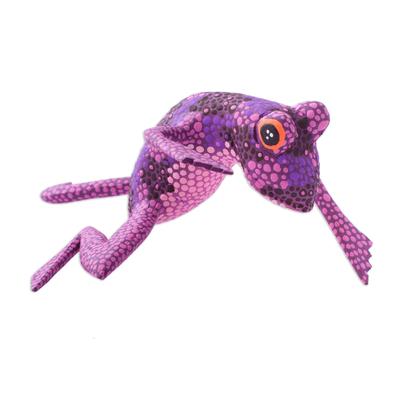 Wood alebrije sculpture, 'Ballerina Frog' - Hand-Painted Purple Frog Wood Alebrije Sculpture from Mexico