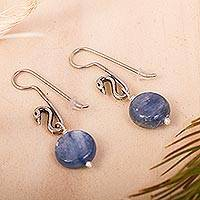 Lapiz lazuli dangle earrings, 'Swan Blue' - Sterling Silver and Lapiz Lazuli Swan Earrings from Mexico