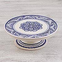 Majolica ceramic cake stand, 'Floral Tradition' (10 inch) - 10 Inch Majolica Floral Ceramic Cake Stand from Mexico