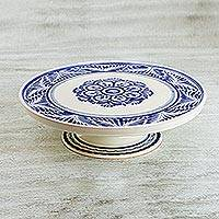 Majolica ceramic cake stand, 'Floral Tradition' (14 inch) - Handcrafted Majolica Floral Ceramic Cake Stand (14 Inch)