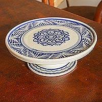 Majolica ceramic cake stand, 'Floral Tradition' (12 inch) - Handcrafted Blue Floral Ceramic Cake Stand (12 Inch)