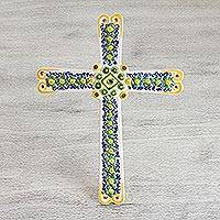 Majolica ceramic wall cross, 'Latin Flowers' - Handcrafted Majolica Floral Ceramic Wall Cross from Mexico