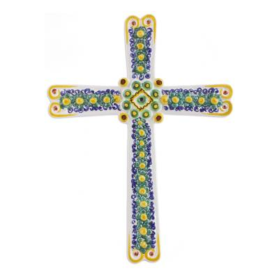 Handcrafted Majolica Floral Ceramic Wall Cross from Mexico