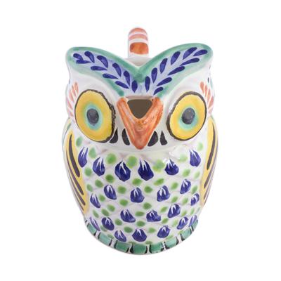 Ceramic creamer, 'Night Bird' - Handcrafted Majolica Ceramic Owl Creamer from Mexico