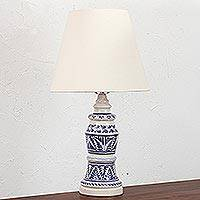 Ceramic lamp, 'Majolica Light' - Handcrafted Majolica Ceramic Electric Lamp from Mexico