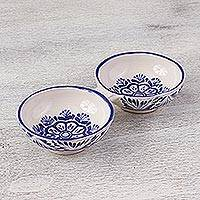 Ceramic serving dish, 'Floral Tradition' (double) - Floral Majolica Ceramic Double Serving Dish from Mexico