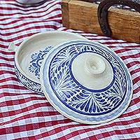 Ceramic salsa bowl, 'Taste of Mexico' (8.5 inch) - Blue and White 8.5 Inch Majolica Salsa Bowl from Mexico