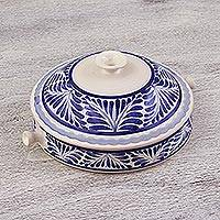 Ceramic salsa bowl, 'Taste of Home' (7.75 inch) - Traditional 7.75 Inch Majolica Salsa Bowl from Mexico