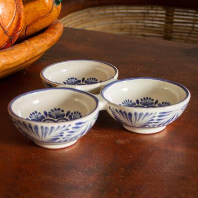 Ceramic serving dish, 'Floral Tradition' (triple) - Floral Majolica Ceramic Triple Serving Dish from Mexico