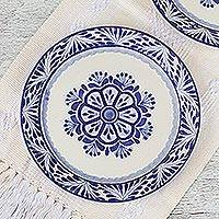 Majolica ceramic dinner plates, 'Floral Tradition' (pair) - Two Round Majolica Ceramic Floral Dinner Plates from Mexico