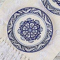 Majolica ceramic dessert plates, 'Floral Tradition' (pair) - Two Majolica Ceramic Floral Dessert Plates from Mexico