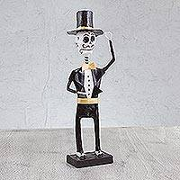 Papier mache figurine, 'The Gentleman' - Handmade Papier Mache Skeleton Figurine from Mexico