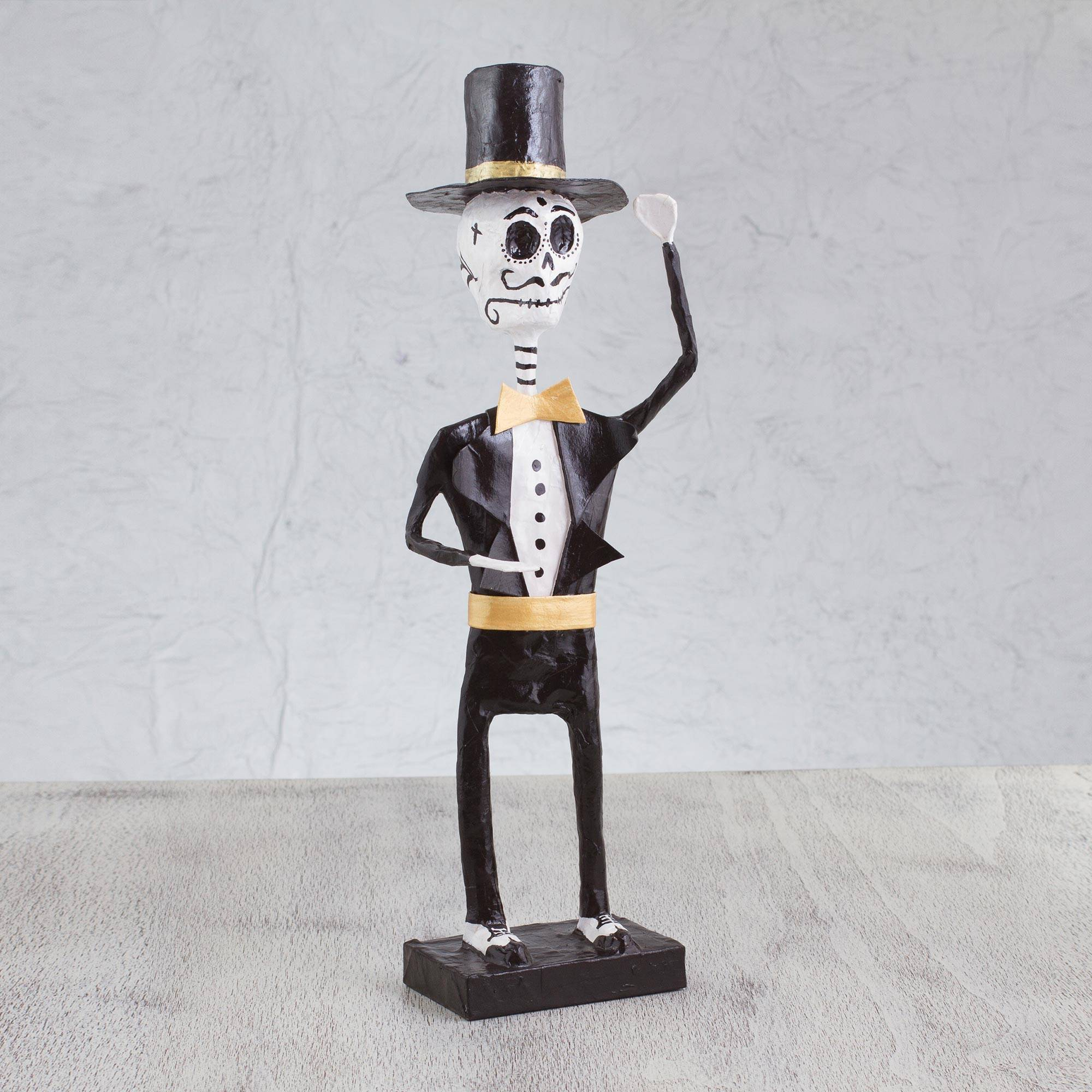 The Gentleman Catrin Handmade Papier Mache Skeleton Figurine from Mexico Fair Trade Day of the Dead