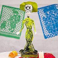 Papier mache figurine, 'Death is a Party in Green' - Mexican Day of the Dead Papier Mache Catrina Figurine