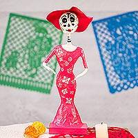 Papier mache figurine, 'Death is a Party in Fuchsia' - Handmade Day of the Dead Papier Mache Catrina figurine