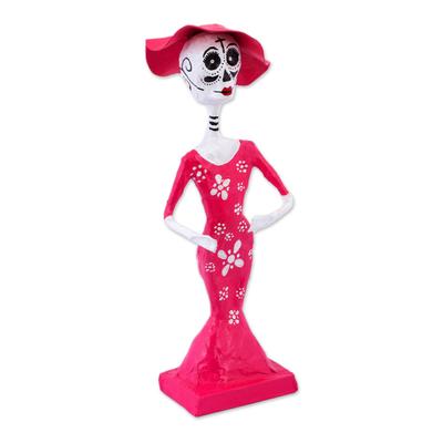 Handmade Day of the Dead Papier Mache Catrina figurine