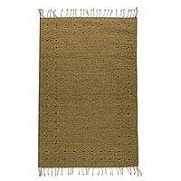 Wool area rug, 'Zapotec Simplicity in Amber' (2.5x5)