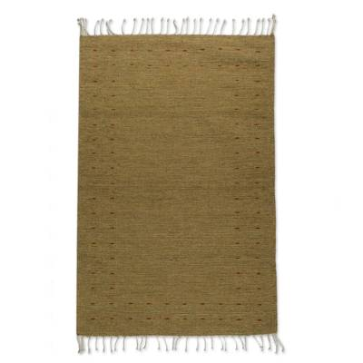 Wool area rug, 'Zapotec Simplicity in Amber' (2.5x5) - Handwoven Zapotec Wool Area Rug in Amber (2.5x5)