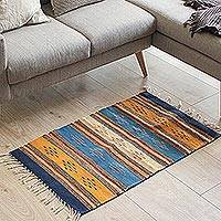 Wool area rug, 'Countryside Freedom' (2x3) - Handwoven 2x3 Wool Area Rug in Navy and Sunrise from Mexico