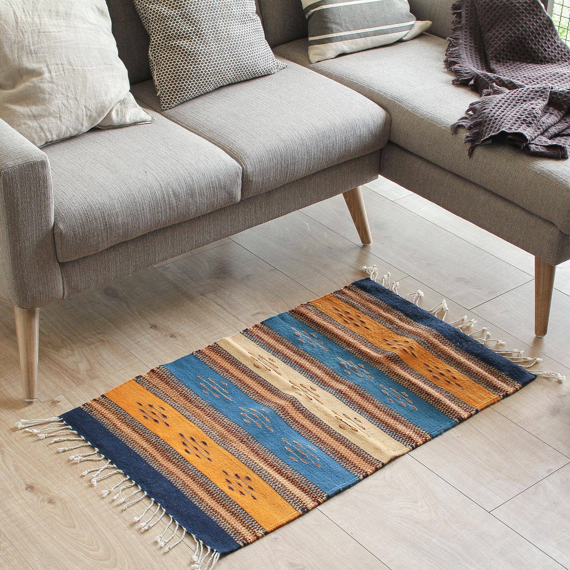 Handwoven 2x3 Wool Area Rug In Navy And Sunrise From Mexico Countryside Freedom