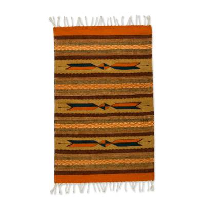 Handwoven 2x3 Striped Geometric Wool Area Rug from Mexico