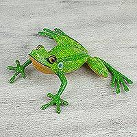 Wood alebrije, 'Frog of Happiness' - Hand-Painted Green Alebrije Frog Figurine from Mexico