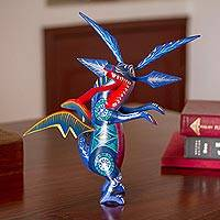 Wood alebrije figurine, 'Happy Dragon' - Hand-Painted Wood Dragon Alebrije from Mexico