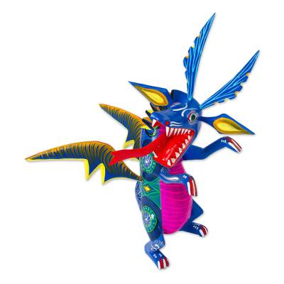 Hand-Painted Wood Dragon Alebrije from Mexico
