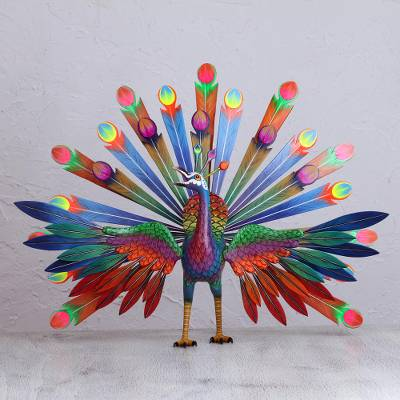 Cedar wood alebrije sculpture, Vibrant Peacock