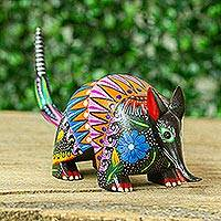 Wood alebrije figurine, 'Colorful Armadillo' - Copal Wood Armadillo Alebrije Figurine from Guatemala