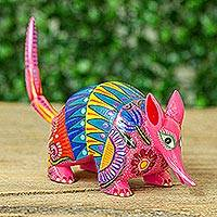 Wood alebrije figurine, 'Festive Armadillo' - Hand-Painted Wood Armadillo Alebrije Figurine from Mexico