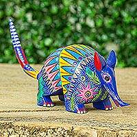 Wood alebrije figurine, 'Sacred Armadillo' - Painted Copal Wood Armadillo Alebrije Figurine from Mexico