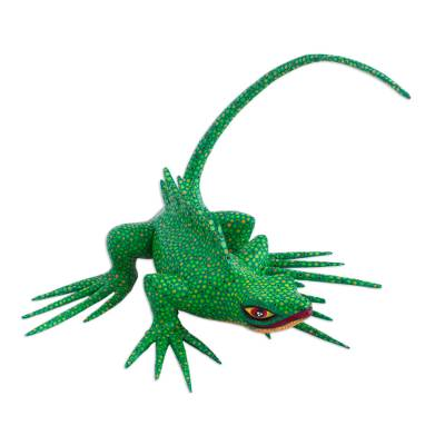 Wood figurine, 'Folkloric Lizard in Green' - Hand-Painted Green Lizard Figurine from Mexico