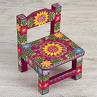 Miniature wood decorative chair, 'Happiness and Tradition' - Hand-Painted Floral Mini Decorative Chair from Mexico