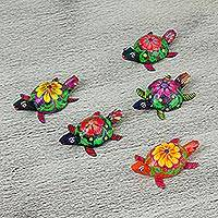 Wood figurines, 'Turtles of Tradition' (set of 5) - Five Hand-Painted Wood Turtle Decorative Accents from Mexico
