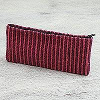Wool coin purse, 'Striped Companion' - Striped Wool Coin Purse in Carnation and Magenta from Mexico