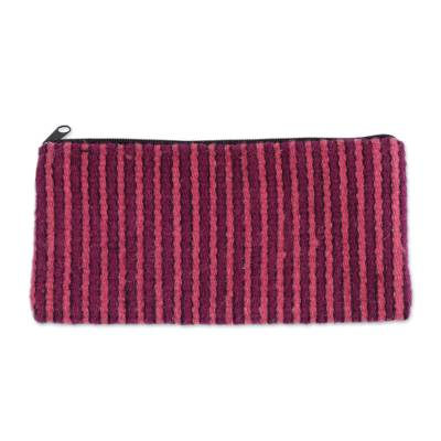 Striped Wool Coin Purse in Carnation and Magenta from Mexico