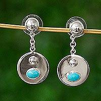 Turquoise dangle earrings, 'Reflection Pool' - Taxco Silver Dangle Earrings with Natural Turquoise Cabochon
